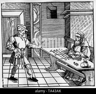 This woodcut shows a farmer and a Jewish money lender at a calculating table. - Stock Photo