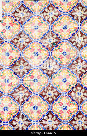 Traditional Portuguese ceramic tiles pattern - Stock Photo