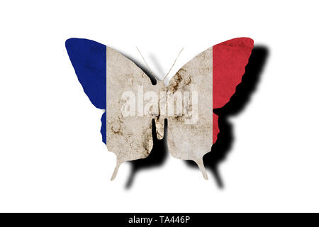 Butterfly silhouette in colors of France national flag in grunge style isolated on white background. French flag in the form of a butterfly silhouette - Stock Photo