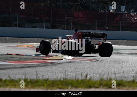 Barcelona, Spain. 14th May, 2019 - Sebastian Vettel from Germany with 5 of Scuderia Ferrari SF90 on track F1 mid season test at Circuit de Catalunya. - Stock Photo