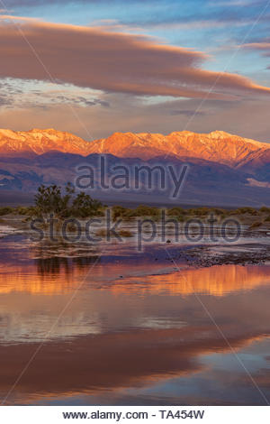 The Panamint Range and Amargosa River at Dawn, Death Valley National Park, California - Stock Photo