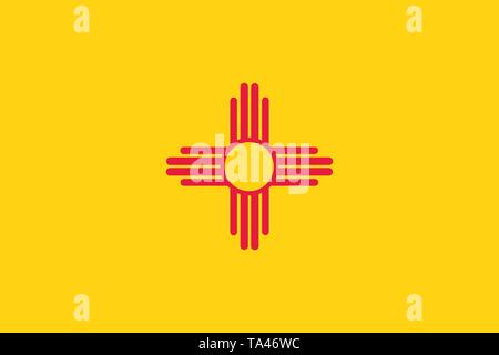 Vector flag illustration of New Mexico state, United States of America - Stock Photo
