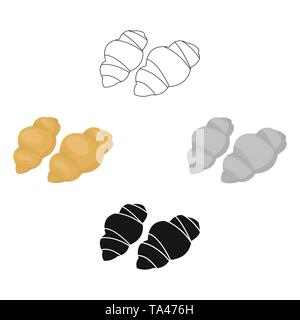 Gnocchi pasta icon in cartoon,black style isolated on white background. Types of pasta symbol vector illustration. - Stock Photo