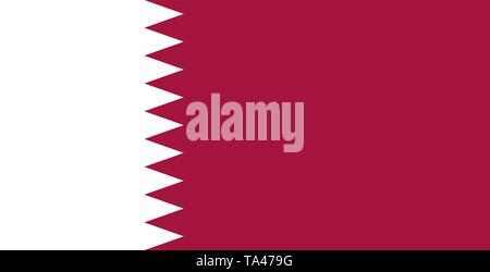 The national flag of Qatar, Al-Adaam. Maroon color. Persian Gulf. Doha - Stock Photo