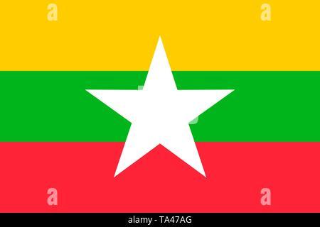 Myanmar vector flag. Naypyitaw - Stock Photo