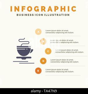 Tea, Cup, Hot, Hotel Infographics Presentation Template. 5 Steps Presentation - Stock Photo