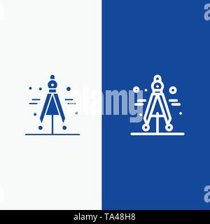 Compass, Divider, Science Line and Glyph Solid icon Blue banner Line and Glyph Solid icon Blue banner - Stock Photo