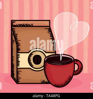 coffee cup with bag product vector illustration design - Stock Photo