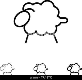 Lamb, Sheep, Wool, Easter Bold and thin black line icon set - Stock Photo