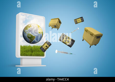 3d rendering of information display showing Earth with trash cans and radioactive waste barrels flying out from screen on blue background. - Stock Photo