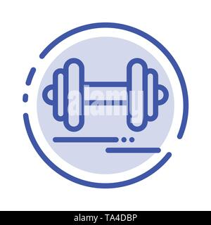 Dumbbell, Fitness, Sport, Motivation Blue Dotted Line Line Icon - Stock Photo