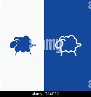 Lamb, Sheep, Wool, Easter Line and Glyph Solid icon Blue banner Line and Glyph Solid icon Blue banner - Stock Photo