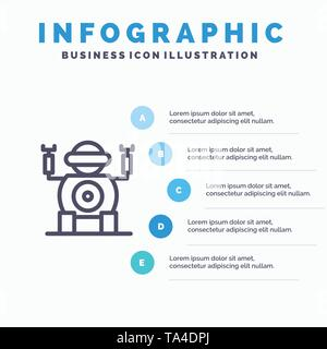Robot, Technology, Toy Line icon with 5 steps presentation infographics Background - Stock Photo