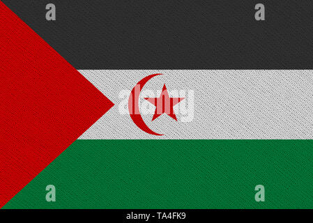 Sahrawi Arab Democratic Republic fabric flag. Patriotic background. National flag of Sahrawi Arab Democratic Republic - Stock Photo