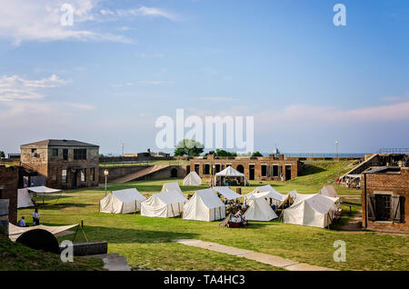 Civil War reenactors camp at Fort Gaines during a reenactment of the 150th Battle of Mobile Bay, Aug. 2, 2014, in Dauphin Island, Alabama. - Stock Photo