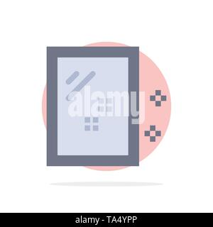 Door, Mirror, Cleaning, Wash Abstract Circle Background Flat color Icon - Stock Photo
