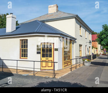 TASMANIA, AUSTRALIA - MARCH 4, 2019: Old buildings in Russell Street, in the historic town of Evandale in Tasmania, Australia - Stock Photo
