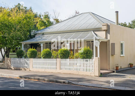 TASMANIA, AUSTRALIA - MARCH 4, 2019: Avendon Cottage in Russell Street in the historic town of Evandale, Tasmania, Australia - Stock Photo