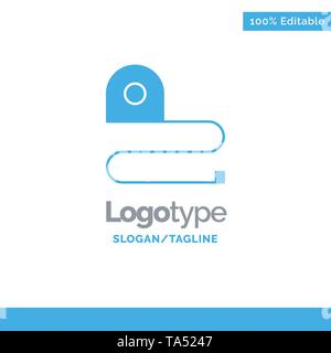 Construction, Measuring, Scale, Tape Blue Solid Logo Template. Place for Tagline - Stock Photo