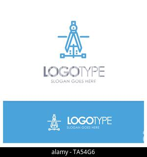 Compass, Drawing, Education, Engineering Blue Logo Line Style - Stock Photo