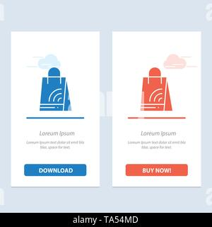 Bag, Handbag, Wifi, Shopping  Blue and Red Download and Buy Now web Widget Card Template - Stock Photo