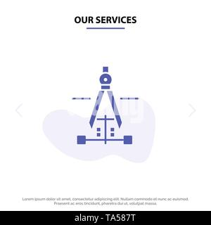 Our Services Compass, Drawing, Education, Engineering Solid Glyph Icon Web card Template - Stock Photo