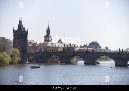 Charles Bridge in a calm weather and a daylight. Mid shot - Stock Photo