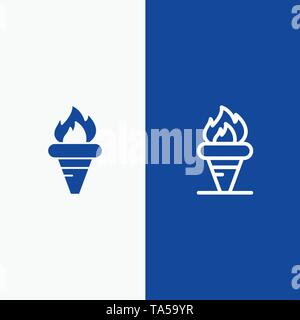Flame, Games, Greece, Holding, Olympic Line and Glyph Solid icon Blue banner Line and Glyph Solid icon Blue banner - Stock Photo