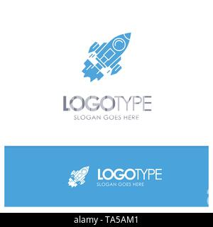 Startup, Business, Goal, Launch, Mission, Spaceship Blue Solid Logo with place for tagline - Stock Photo