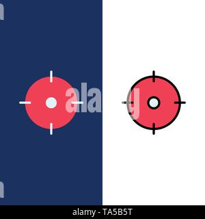 Archer, Target, Goal, Aim  Icons. Flat and Line Filled Icon Set Vector Blue Background - Stock Photo