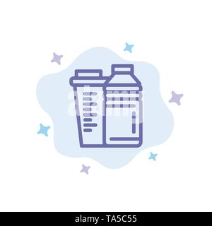 Bottle, Drink, Energy, Shaker, Sport Blue Icon on Abstract Cloud Background - Stock Photo