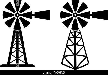 vector black and white symbols of rural windpump. silhouette of farm wind mill. windpump icons isolated on white background - Stock Photo
