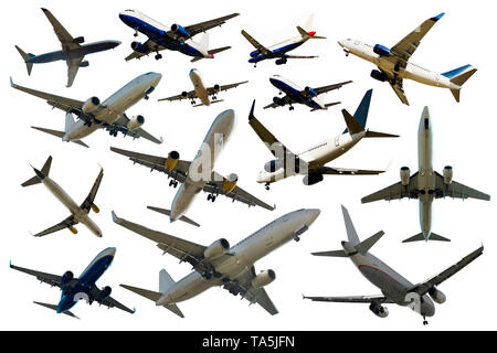 Image with many different planes on a clean white background - Stock Photo