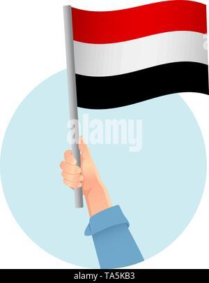 Yemen flag in hand. Patriotic background. National flag of Yemen vector illustration - Stock Photo