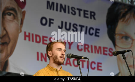 Mikulas Minar speaks to about 50,000 people, who joined another protest held by Million Moments for Democracy NGO, demanding resignation of Justice Mi - Stock Photo