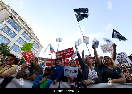 About 50,000 people joined another protest held by Million Moments for Democracy NGO, demanding resignation of Justice Minister Marie Benesova and aga - Stock Photo