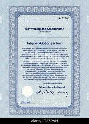 Historic stock certificate, Securities certificate, bearer warrant, Wertpapier, Inhaber-Optionsschein, Deutsche Mark, Schweizerische Kreditanstalt, Zürich, 1986, Schweiz, Europa - Stock Photo