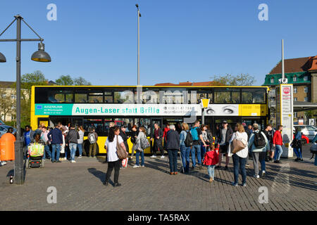 Bus stop, old town-dweller ring, Spandau, Berlin, Germany, Bushaltestelle, Altstädter Ring, Deutschland - Stock Photo