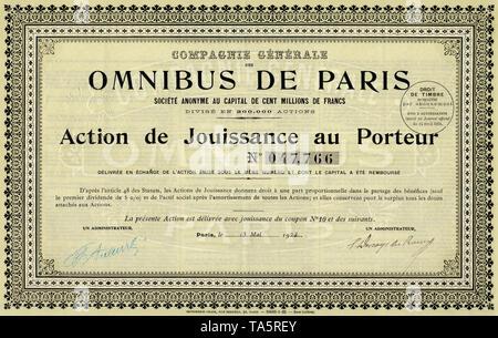 Historic stock certificate, share, Omnibus de Paris, bus service of Paris, 100 francs, Paris, France, 1924, Historisches Wertpapier, Aktie, Busverkehr in Paris, 100 Franc, Omnibus de Paris, Paris, Frankreich, 1924 - Stock Photo