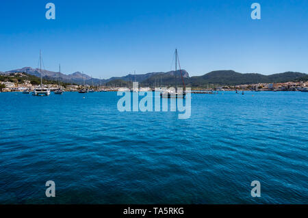 View of the marina from the port of the city of Andratx in the north west of the island of Palma de Majorca in Spain - Stock Photo