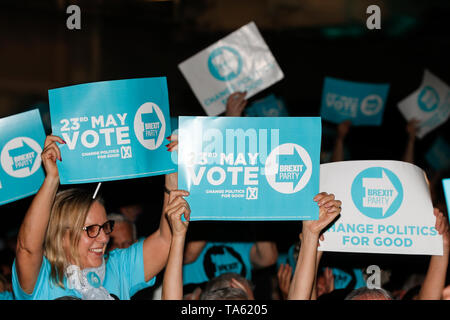 London, UK. 21st May, 2019. People attend a Brexit Party campaign event for the upcoming European Parliament election in London, Britain on May 21, 2019. Credit: Han Yan/Xinhua/Alamy Live News - Stock Photo