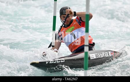 Lee valley white water centre, Hertfordshire, UK. 22nd May, 2019. Ryan Westley (C1M, 2018 European Champion). Canoe slalom media day. Lee valley white water centre. Hertfordshire, UK. 22nd May, 2019. Credit: Sport In Pictures/Alamy Live News - Stock Photo