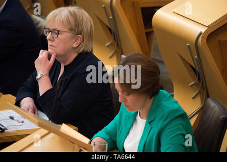 Edinburgh, UK. 22nd May, 2019. First Minister's Questions at the Scottish Parliament in Holyrood, Edinburgh. Due to the European Elections being held tomorrow where First Ministers Questions are normally held on a Thursday, the session has been moved a day early to accommodate the Elections. Credit: Colin Fisher/Alamy Live News - Stock Photo