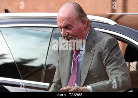 Madrid, Madrid, Spain. 22nd May, 2019. Spanish King Juan Carlos I is seen arriving at the Las Ventas bullring during the 2019 San Isidro festival in Madrid. Credit: Jorge Sanz/SOPA Images/ZUMA Wire/Alamy Live News - Stock Photo