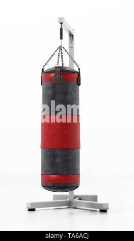 Boxing sandbag hanging on the chain. 3D illustration. - Stock Photo
