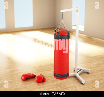 Boxing sandbag hanging on the chain inside a room. 3D illustration. - Stock Photo