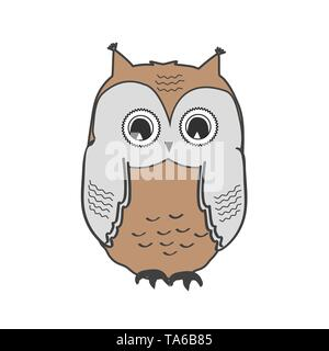 Cute owl icon isolated on white, wild bird illustration. Vector owl - Stock Photo