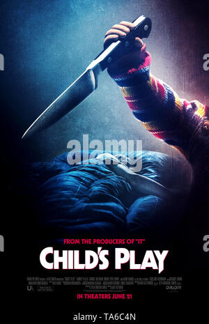 RELEASE DATE: June 21, 2019 TITLE: Child's Play STUDIO: MGM DIRECTOR: Lars Klevberg PLOT: A mother gives her son a toy doll for his birthday, unaware of its more sinister nature. STARRING: Mark Hamill as Chucky (voice) poster art. (Credit Image: © MGM/Entertainment Pictures) - Stock Photo