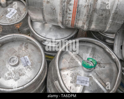Aluminium or stainless steel beer barrels / kegs (Names of branded products are visible on labels so Editorial use). - Stock Photo
