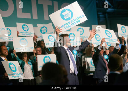 Cheers from  Candidate MEPS and members of the Brexit Party, at the end of the Rally at Olympia London. - Stock Photo
